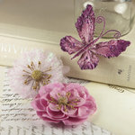 Prima - Meredith Collection - Fabric Butterfly and Flower Embellishments - Rubine