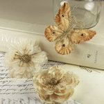 Prima - Meredith Collection - Fabric Butterfly and Flower Embellishments - Mer