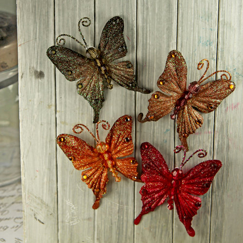 Prima - Fantasy Collection - Fabric Butterfly Embellishments - Forest