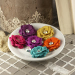 Prima - Solitaire Collection - Fabric Flower Embellishments - Jeweltone