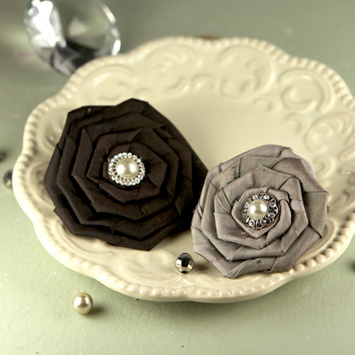Prima - Coiled Pearls Collection - Fabric Flower Embellishments - Victoria
