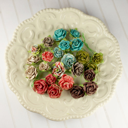 Prima - Avon Rose Collection - Mulberry Flower Embellishments - North Country