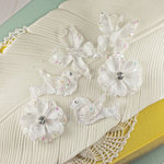 Prima - Melody Collection - Flower Butterfly and Bird Embellishments - White