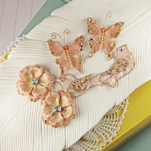 Prima - Melody Collection - Flower Butterfly and Bird Embellishments - Sepia