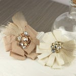 Prima - Gemini Collection - Fabric Flower Embellishments - Latte