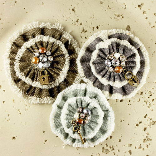 Prima - Be Charmed Collection - Fabric Flower Embellishments - Mystra