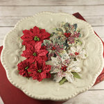 Prima - Holiday Collection - Christmas - Flower Embellishments - Crimson