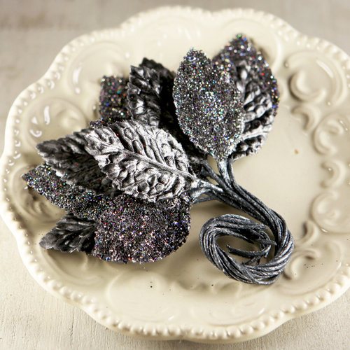 Prima - Aglow Collection - Leaves Embellishments - Black Magic