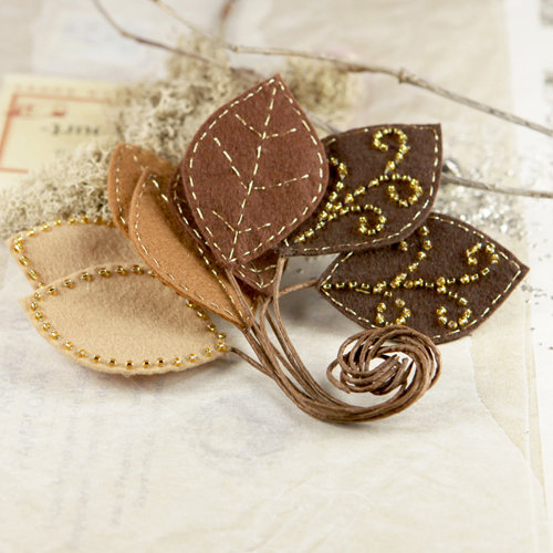 Prima - Vermont Collection - Fabric Leaves Embellishments - Brown