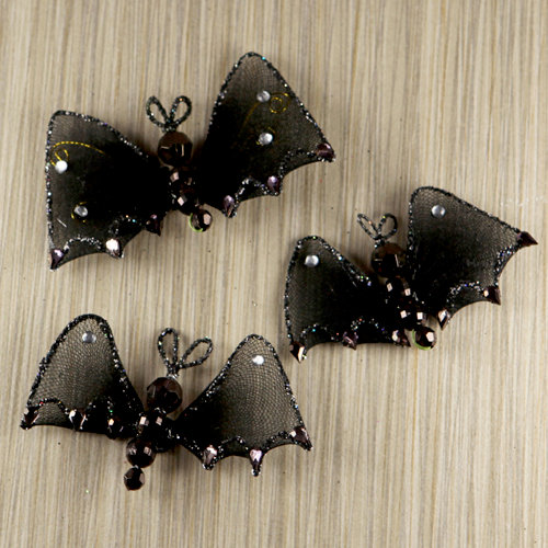 Prima - Trick or Treats Collection - Halloween - Bat Embellishments - Night Flight
