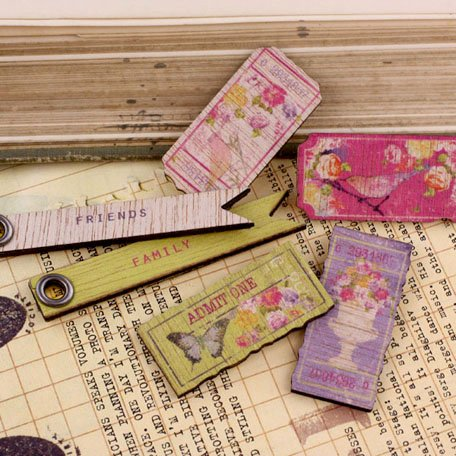 Prima - Meadow Lark Collection - Wood Embellishments - Tickets