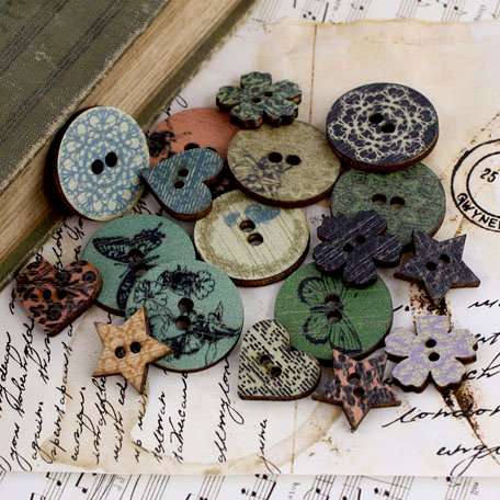 Prima - Nature Garden Collection - Wood Embellishments - Buttons