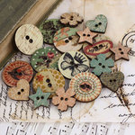 Prima - Songbird Collection - Wood Embellishments - Buttons