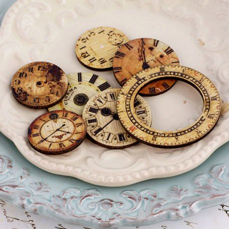 Prima - Wood Embellishments - Decorative Clocks