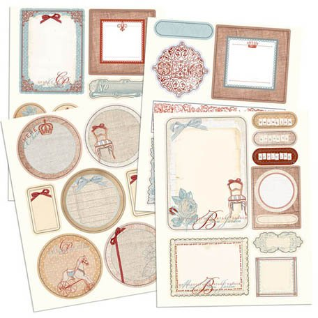 Prima - En Francais Collection - Chipboard Stickers with Glitter Accents