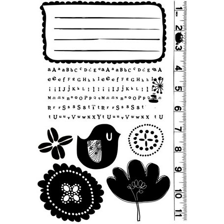 Prima - Doodle-Deux Collection - Cling Mounted Rubber Stamps