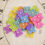 Prima - Velvet Rainbow Collection - Fabric Flower Embellishments - Brights