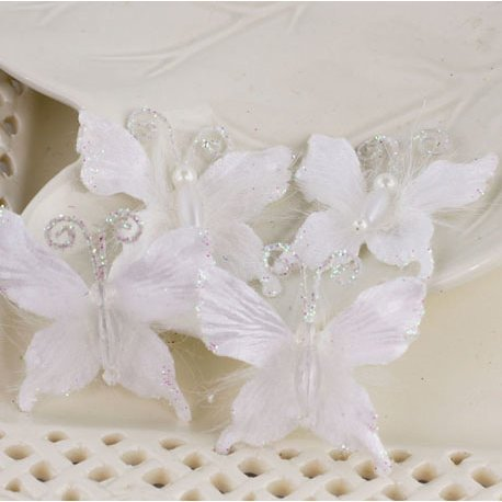 Prima - Mariposa Collection - Fabric Butterfly Embellishments - Frost