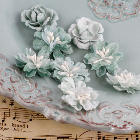 Prima - Miss Godivas Collection - Fabric Flower Embellishments - Celadon