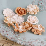 Prima - Miss Godivas Collection - Fabric Flower Embellishments - Caramel