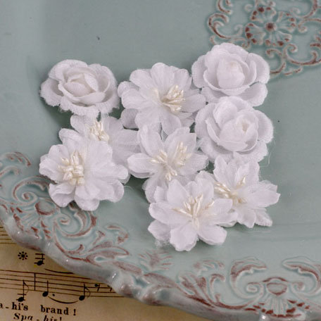 Prima - Miss Godivas Collection - Fabric Flower Embellishments - Marshmallow