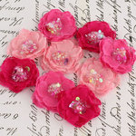 Prima - Tasha Collection - Fabric Flower Embellishments - Ruby