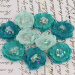 Prima - Tasha Collection - Fabric Flower Embellishments - Teal