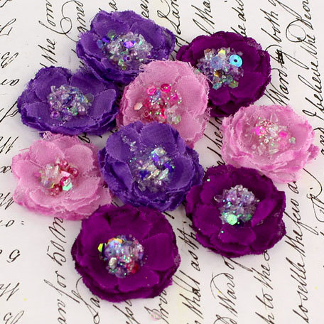 Prima - Tasha Collection - Fabric Flower Embellishments - Purple