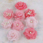 Prima - Lady Godivas Collection - Fabric Flower Embellishments - Strawberry Ice