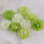 Prima - Lady Godivas Collection - Fabric Flower Embellishments - Limeade