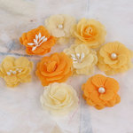 Prima - Lady Godivas Collection - Fabric Flower Embellishments - Orange Ice