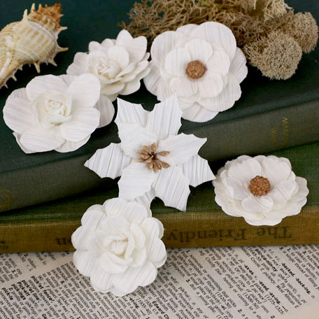 Prima - Tivona Collection - Flower Embellishments - Large - White Mix