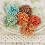 Prima - Manette Collection - Fabric Flower Embellishments - Maple