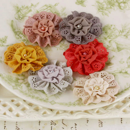 Prima - Manette Collection - Fabric Flower Embellishments - Attic