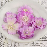 Prima - Charlotte Collection - Fabric Flower Embellishments - Lilac