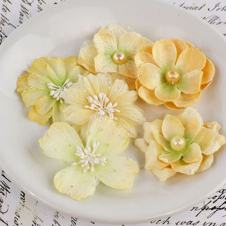 Prima - Charlotte Collection - Fabric Flower Embellishments - Nectar