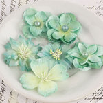 Prima - Charlotte Collection - Fabric Flower Embellishments - Egg Blue