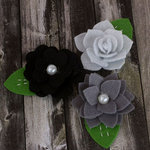 Prima - Hermosa Collection - Fabric Flower Embellishments - Grey