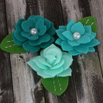 Prima - Hermosa Collection - Fabric Flower Embellishments - Teal