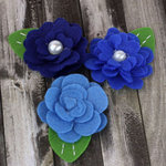 Prima - Hermosa Collection - Fabric Flower Embellishments - Blueberry