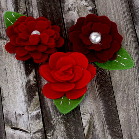 Prima - Hermosa Collection - Fabric Flower Embellishments - Carmine