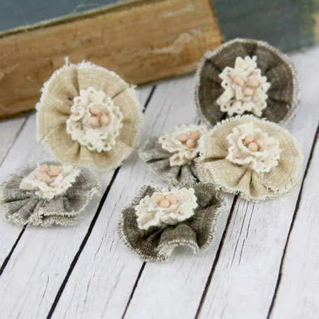 Prima - Tattered Treasures Collection - Fabric Flower Embellishments - Barley