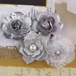 Prima - Metalique Collection - Fabric and Paper Flower Embellishments - Silver