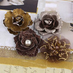 Prima - Metalique Collection - Fabric and Paper Flower Embellishments - Iron
