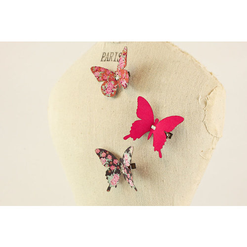 Prima - Fabric Butterfly Embellishments - Pink