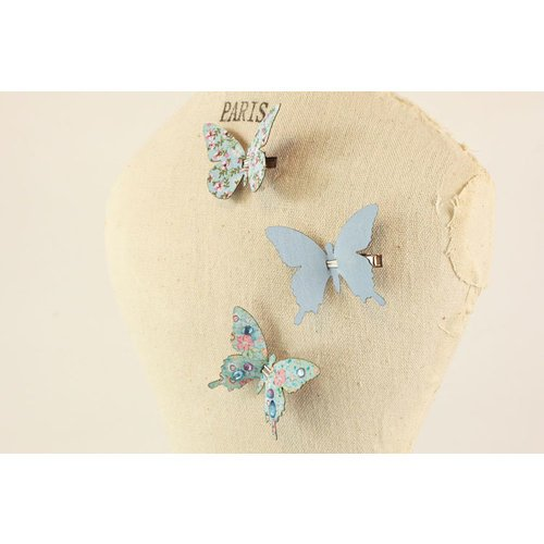 Prima - Fabric Butterfly Embellishments - Blue