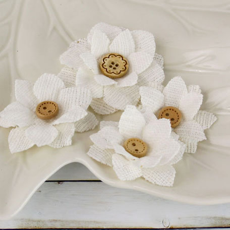 Prima - Primmers Collection - Fabric Flower Embellishments - Bleached White