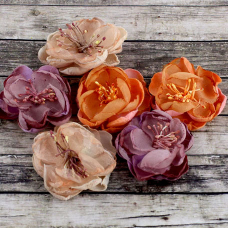 Prima - Kennedy Collection - Fabric Flower Embellishments - Antique