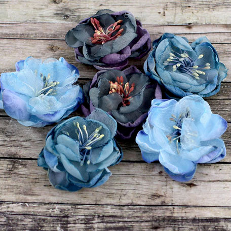 Prima - Kennedy Collection - Fabric Flower Embellishments - Blueberry
