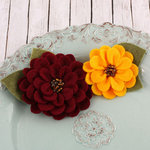 Prima - Cascade Collection - Fabric Flower Embellishments - Cranberry